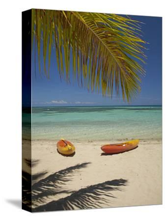 Kayaks on the Beach, Plantation Island Resort, Malolo Lailai Island, Mamanuca Islands, Fiji-David Wall-Stretched Canvas Print
