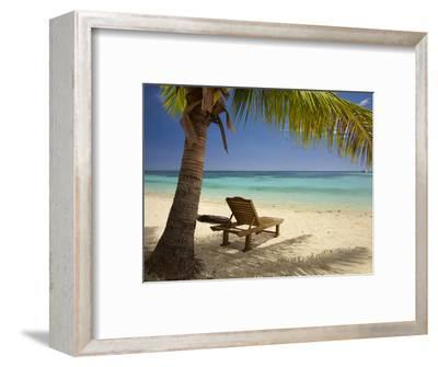 Beach and Lounger, Plantation Island Resort, Malolo Lailai Island, Mamanuca Islands, Fiji-David Wall-Framed Premium Photographic Print