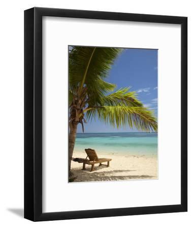 Beach and Lounger, Plantation Island Resort, Malolo Lailai Island, Mamanuca Islands, Fiji-David Wall-Framed Photographic Print