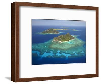 Monuriki Island and Coral Reef, Mamanuca Islands, Fiji-David Wall-Framed Premium Photographic Print