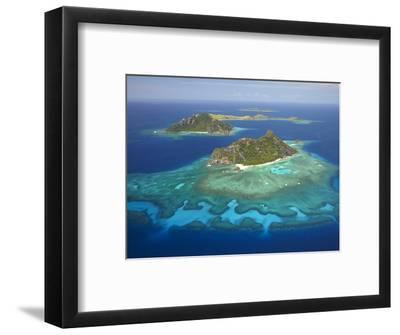 Monuriki Island and Coral Reef, Mamanuca Islands, Fiji-David Wall-Framed Photographic Print