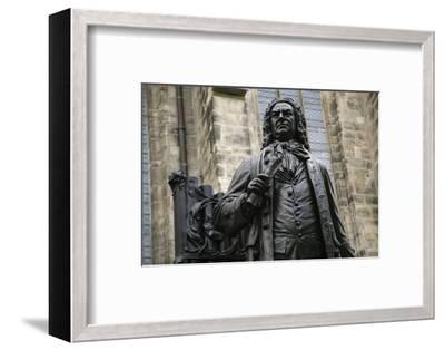 Statue of J. S. Bach, Courtyard of St. Thomas Church, Leipzig, Germany-Dave Bartruff-Framed Photographic Print