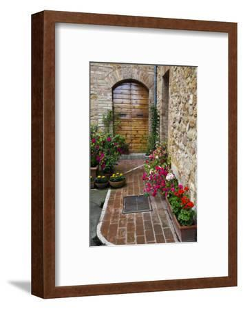 Doorway with Flowers, Pienza, Tuscany, Italy-Terry Eggers-Framed Premium Photographic Print