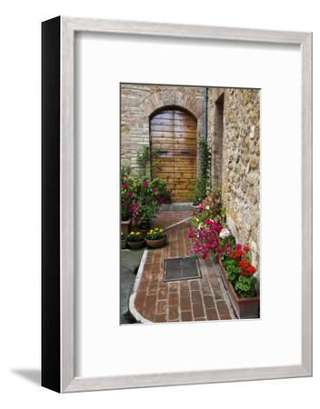 Doorway with Flowers, Pienza, Tuscany, Italy-Terry Eggers-Framed Photographic Print