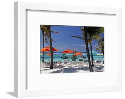 Umbrellas and Shade at Castaway Cay, Bahamas, Caribbean-Kymri Wilt-Framed Photographic Print