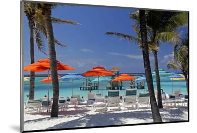 Umbrellas and Shade at Castaway Cay, Bahamas, Caribbean-Kymri Wilt-Mounted Photographic Print