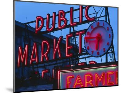 View of Public Market Neon Sign and Pike Place Market, Seattle, Washington, USA-Walter Bibikow-Mounted Photographic Print