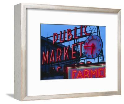 View of Public Market Neon Sign and Pike Place Market, Seattle, Washington, USA-Walter Bibikow-Framed Photographic Print