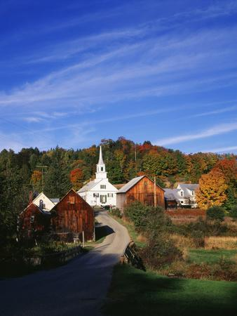 Waits River, View of Church and Barn in Autumn, Northeast Kingdom, Vermont, USA-Walter Bibikow-Photographic Print