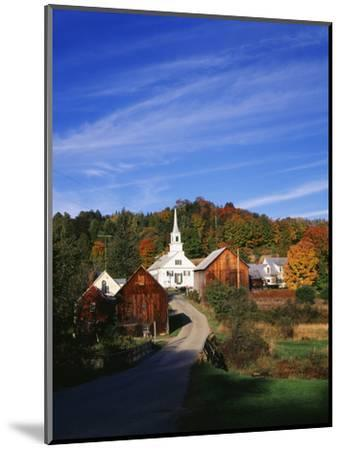 Waits River, View of Church and Barn in Autumn, Northeast Kingdom, Vermont, USA-Walter Bibikow-Mounted Photographic Print