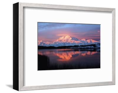 Lake with Mt McKinley, Denali National Park and Preserve, Alaska, USA-Hugh Rose-Framed Photographic Print