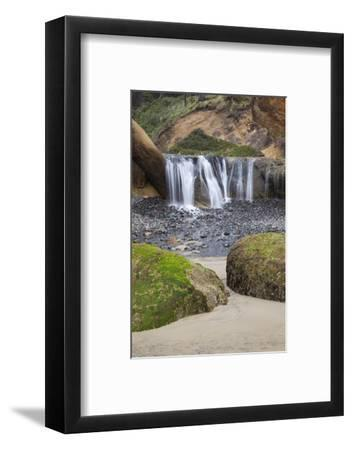 Waterfall and Rocks, at Hug Point, Oregon, USA-Jamie & Judy Wild-Framed Photographic Print