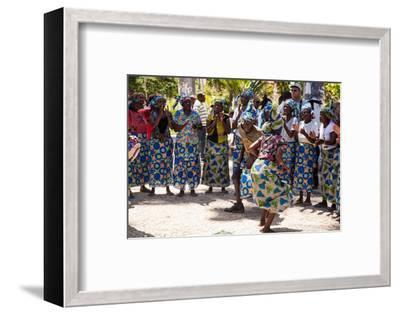 Women and Men Dancing in Traditional Dress, Benguela, Angola-Alida Latham-Framed Photographic Print