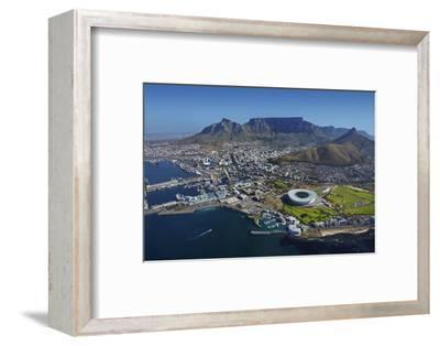 Aerial of Stadium,Waterfront, Table Mountain, Cape Town, South Africa-David Wall-Framed Photographic Print