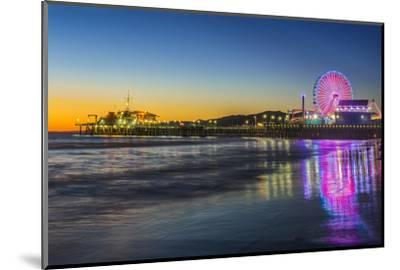 USA, California, Los Angeles, Santa Monica Pier Twilight-Rob Tilley-Mounted Photographic Print