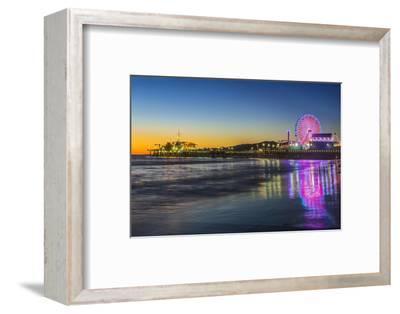 USA, California, Los Angeles, Santa Monica Pier Twilight-Rob Tilley-Framed Photographic Print