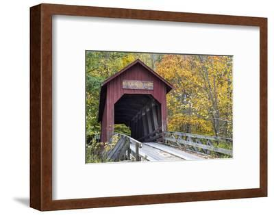 Bean Blossom Covered Bridge in Brown County, Indiana, USA-Chuck Haney-Framed Premium Photographic Print