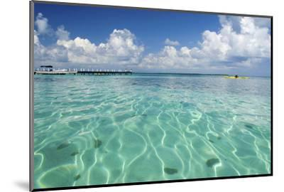 Kayaker in Blue Waters, Southwater Cay, Belize-Cindy Miller Hopkins-Mounted Photographic Print