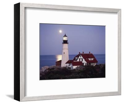 Cape Elizabeth Lighthouse with Full Moon, Portland, Maine, USA-Walter Bibikow-Framed Photographic Print
