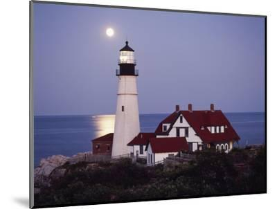 Cape Elizabeth Lighthouse with Full Moon, Portland, Maine, USA-Walter Bibikow-Mounted Photographic Print
