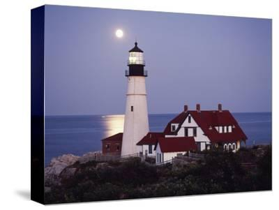 Cape Elizabeth Lighthouse with Full Moon, Portland, Maine, USA-Walter Bibikow-Stretched Canvas Print
