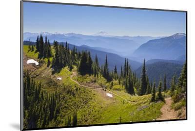 USA, Washington. Backpackers on Cowlitz Divide of Wonderland Trail-Gary Luhm-Mounted Photographic Print