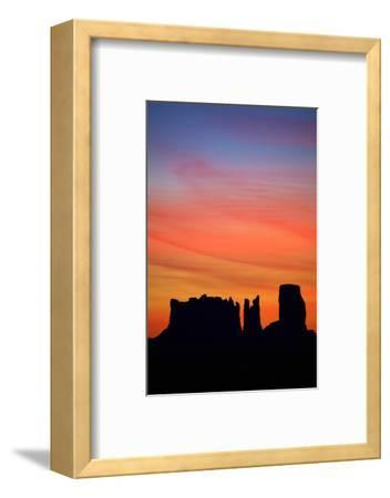 Navajo Nation, Monument Valley, Sunrise over Mitten Rock Formations-David Wall-Framed Photographic Print