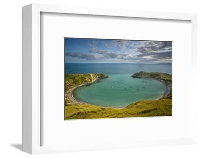 Evening View over Lulworth Cove, Jurassic Coast, Dorset, England-Brian Jannsen-Framed Photographic Print