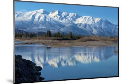 Cinquefoil Mountain Reflects in the Athabasca River, Jasper National Park, Canada-Richard Wright-Mounted Photographic Print