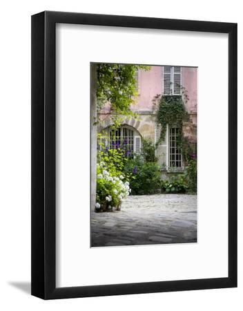 Flowery Building Courtyard in Saint Germaine Des Pres, Paris, France-Brian Jannsen-Framed Photographic Print