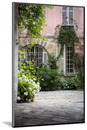 Flowery Building Courtyard in Saint Germaine Des Pres, Paris, France-Brian Jannsen-Mounted Photographic Print