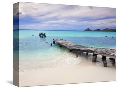 Venezuela, Archipelago Los Roques National Park, Pier on Madrisque Island-Jane Sweeney-Stretched Canvas Print