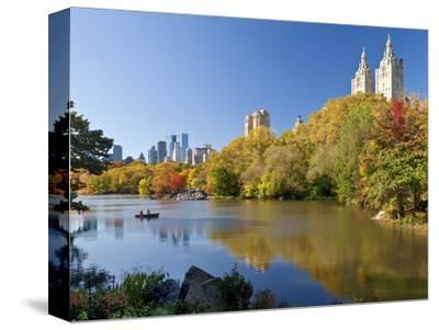 Central Park and Buildings Viewed Across Lake in Autumn, Manhattan, New York City-Gavin Hellier-Stretched Canvas Print