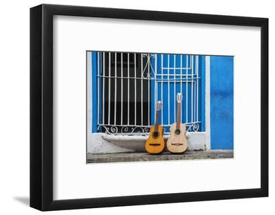 Santiago De Cuba Province, Historical Center, Calle Heredia, Guitars by Balcony-Jane Sweeney-Framed Photographic Print