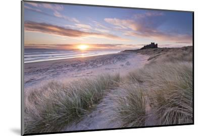 Sunrise over Bamburgh Beach and Castle from the Sand Dunes, Northumberland, England. Spring (March)-Adam Burton-Mounted Photographic Print
