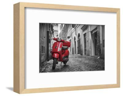 Italy, Lazio, Rome, Trastevere, Red Vespa-Jane Sweeney-Framed Photographic Print