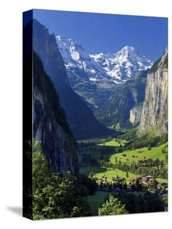 Switzerland, Bernese Oberland, Lauterbrunnen Town and Valley-Michele Falzone-Stretched Canvas Print