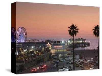 California, Los Angeles, Santa Monica, Santa Monica Pier, Dusk, USA-Walter Bibikow-Stretched Canvas Print