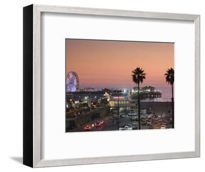California, Los Angeles, Santa Monica, Santa Monica Pier, Dusk, USA-Walter Bibikow-Framed Photographic Print