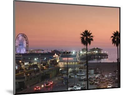 California, Los Angeles, Santa Monica, Santa Monica Pier, Dusk, USA-Walter Bibikow-Mounted Photographic Print