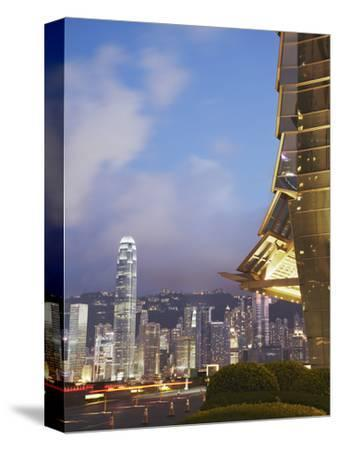 View of Hong Kong Island Skyline from Icc, Hong Kong, China-Ian Trower-Stretched Canvas Print