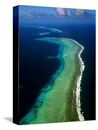 Aerial of Barrier Atoll, Micronesia-John Elk III-Stretched Canvas Print