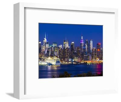 USA, New York, Manhattan, Midtown Skyline with the Empitre State Building across the Hudson River-Alan Copson-Framed Photographic Print
