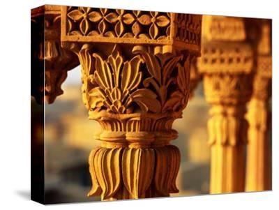 Detail of Carved Sandstone Pillars on Patwon Ki Haveli, Jaisalmer, India-Anthony Plummer-Stretched Canvas Print