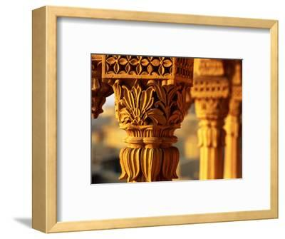 Detail of Carved Sandstone Pillars on Patwon Ki Haveli, Jaisalmer, India-Anthony Plummer-Framed Photographic Print