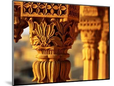 Detail of Carved Sandstone Pillars on Patwon Ki Haveli, Jaisalmer, India-Anthony Plummer-Mounted Photographic Print