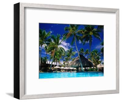 Hotel Pool and Palm Trees, Fiji-Peter Hendrie-Framed Premium Photographic Print