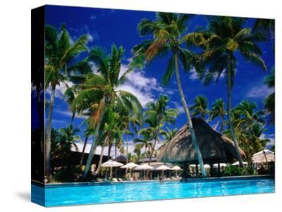 Hotel Pool and Palm Trees, Fiji-Peter Hendrie-Stretched Canvas Print