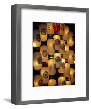 Festival Lanterns for Gion Matsuri, Kyoto, Kinki, Japan,-Frank Carter-Framed Photographic Print