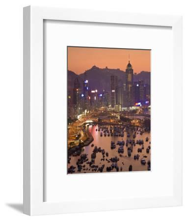 Hong Kong, Hong Kong Island, Causeway Bay View across Harbour to Victoria Peak, China-Peter Adams-Framed Photographic Print